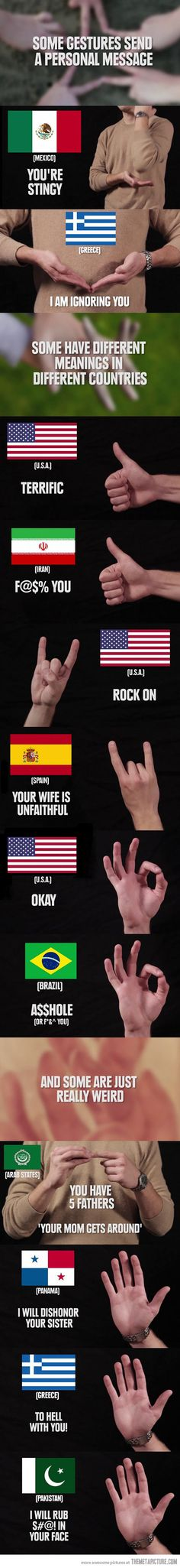 Hand gestures around the world…
