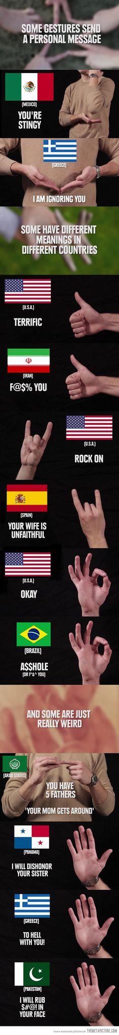 Hand gestures around the world…