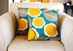 Teal, yellow and brown pillow covers.  Set of two (2) for 18x18 OR 20x20 pillow inserts. Gorgeous Robert Allen fabric. on Etsy, $49.42 AUD