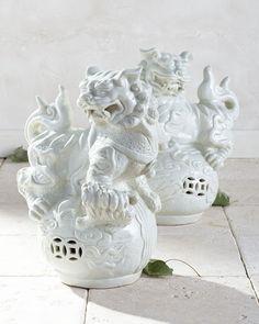 Vintage Foo Dogs, 2-Piece Set, White