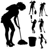 Vector silhouette of a cleaning lady. — Stock Illustration #45109521