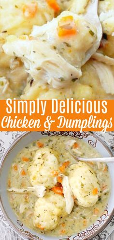 Simply delicious and simply the BEST recipe for chicken and dumplings you will find. Simply delicious and simply the BEST recipe for chicken and dumplings you will find. Homemade Chicken And Dumplings, Dumplings For Soup, Chicken Dumplings, Dumplings Recipe Easy, Potato Dumpling Recipe, Chicken Dumpling Casserole, Simply Recipes, Top Recipes, Best Recipes For Dinner