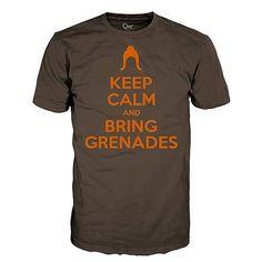 119348ba247371 Keep Calm and Bring Grenades Juniors Brown T-Shirt. Nerd GeekGeek ShirtsCool  ...
