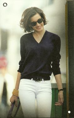 3. The navy sweater. Celeb style: white jeans, high heeled sandals and leather jacker. Easy cool look: flat shoes. Also wear it with black pants
