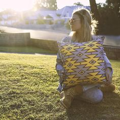 "@sharabryant looking pretty amaze in the sunshine with our ""Wild Thing"" print ✔️ #cushions #homewares #interior #interiordesign #aztec #love #prints #yellow #lilac #sunshine #cushionclique #daystogo #gabeandnix"
