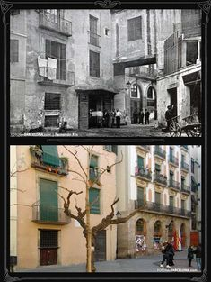 Fossar De Les Moreres, before and after. The bridge is now gone (Barcelona) Barcelona City, Barcelona Catalonia, Old Images, Old Photos, Spain And Portugal, Santa Maria, Historical Photos, Art Nouveau, Bridge