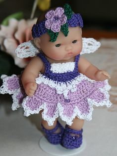 PDF PATTERN Crochet 5 inch Berenguer Baby Doll Fairy Angel Set via Etsy