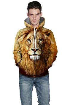 Cute hoodies with yellow lion head digital print hoodie – menlivestyle Printed Hoodies, Hooded Sweater, Christmas Sweaters, Digital Prints, Lion Sculpture, Yellow, Cute, Animals, Fashion