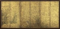 """6848 A six-fold paper screen painted in ink and colour on a gold ground with autumn flowers and grasses. Seal: Inen Japan 17th century Edo period Dimensions: H. 54½"""" x W. 109¼"""" (138cm x 277cm)"""
