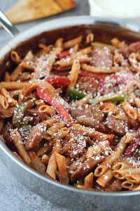 Skillet Italian Sausage and Peppers | FaveHealthyRecipes.com