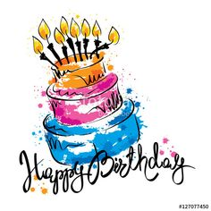 Vector: Cake ans Happy Birthday / Handwritten vector calligraphy with abstract cake