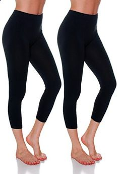 Emmalise Women's Capri Seamless Legging One Size, Black Black  Go to the website to read more description.