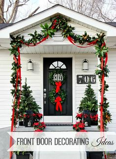Easy front door decorating ideas for Christmas!  Add fresh greenery to garland and window baskets and so much more!  thistlewoodfarms.com