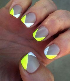 Gray white and yellow v-shaped nail art design. Have your nails don contrasting colors with this great combination of light and neo nail polishes.