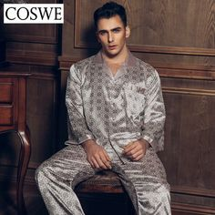 f065e20ea2 COSWE XXXL Silk Pajamas Male Sleepwear Mens  pyjama Long Sleeve Man  Sleeping Pajamas Men Pajama