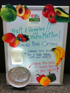 TIP: Use your menu board to highlight all the options that students have on a salad bar. (Photo from Jeanne Reilly, Windham-Raymond, Maine)