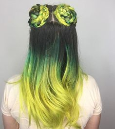LIME GREEN BRAIDED TOP KNOTS ~~
