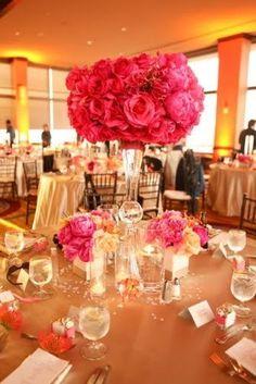 Pink and orange wedding reception #orange #wedding #uplighting http://www.discoverydecorlighting.com