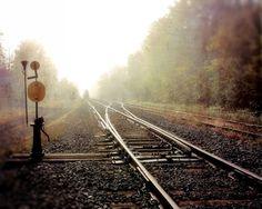 Train photograph railroad tracks industrial urban fog by gbrosseau, $20.00