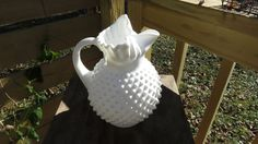 "Fenton Hob Nail Milk Glass Ice Lipped Pitcher ""Pineapple"" with 5 dollar shipping by LoopyLiz on Etsy"