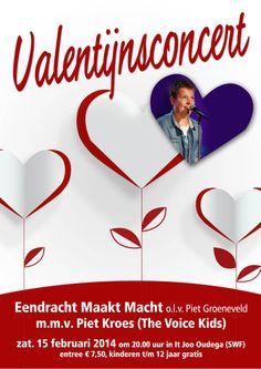 Valentijnsconcert Fanfare Eendracht Maakt Macht - Oudega (W) met Piet Kroes (The Voice Kids)