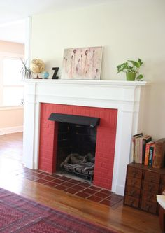 painted brick fireplace This fireplace looks identical to ours