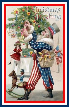 Uncle Sam as Father Christmas ~ vintage postcard.