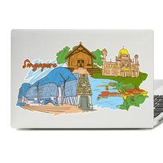 Singapore Illustration Laptop Skin Sticker Laptop Stickers, Laptop Skin, Macbook, Vinyl Decals, Singapore, Illustration, Illustrations