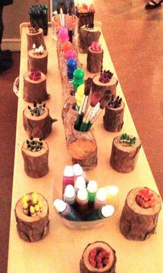 Fairy Dust Teaching Kindergarten Blog: Reggio Emilia: Color.  These tree stump holders are so cute.