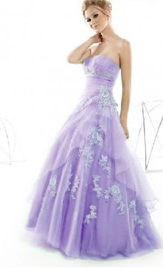 Classical lilac strapless A-line quinceanera gowns with white appliques,Lilac prom dress