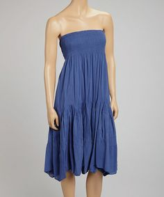 Look at this #zulilyfind! Blue Shirred Strapless Dress - Women #zulilyfinds