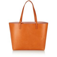 Mansur Gavriel Large leather tote (820 AUD) ❤ liked on Polyvore featuring bags, handbags, tote bags, brown, genuine leather tote, leather tote, orange leather tote bag, leather pouch and brown tote