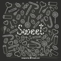 Sketchy sweets Free Vector