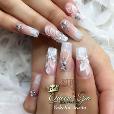 Amazing Nail Art Made Using Tones Products Glam Nails, Fancy Nails, My Nails, Gorgeous Nails, Pretty Nails, Amazing Nails, Dimond Nails, 3d Nail Designs, Wedding Nails Design