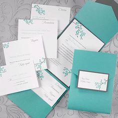 Teal Shimmer Pocket with White Invitation
