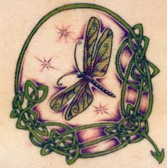 Dragonfly Tattoo For Women With Celtic Tribal Elements