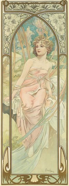 'Eveil du Matin' (Morning Awakening) from the Times of Day series. (1889) - Alphonse Mucha (1860-1939)