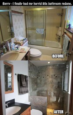awesome bathroom makeover I would love to do this with our shower.