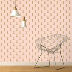 Papier peint SERENA 100% intissé imprimé ananas, doré, fond rose nude | Saint Maclou
