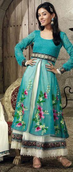 Turquoise and Off White Jacquard Net and Net #ChuridarKameez @ $112.17