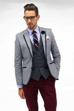 Mens Fashion - Hugo Boss spectacles, Blue blazer with navy trim, blue  oxford shirt