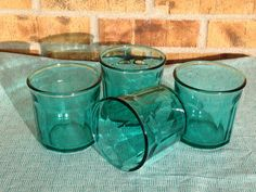 4 - Vintage RARE Teal Blue Double Old-Fashion Glasses Made in France 500 on Etsy, $24.95
