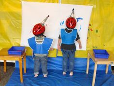 Helmet Painting - a favorite from my former classroom. :) #helmet #painting #kids #art #preschool #classroom