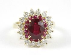 Sparkling Round Red Ruby Lady's Ring w/Diamond Halo 4.11Ct 14k Yellow Gold #DD #SolitairewithAccents