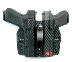 NSR Tactical released a dual Appendix Carry Holster that allows you to carry two pistols inside the waistband in the appendix carry position. Tactical Equipment, Tactical Gear, Weapons Guns, Guns And Ammo, Custom Leather Holsters, Custom Guns, Custom Glock 19, Concealed Carry Holsters, Pistol Holster