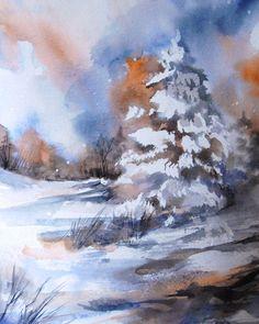 Winter Landscape - Watercolor Painting Art Print - Watercolor Art - Blue - Nature #etsy #watercolor