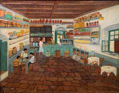 Ιωάννης Ράππας - Υδραίικο παντοπωλείο, 1970. Λάδι σε καμβά, 62 x 78 εκ.