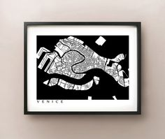 Venice Map  Black and White  Italy Art Poster by CartoCreative, $20.00
