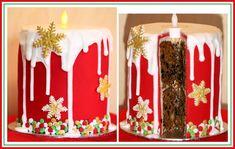 Large candle fruit cake