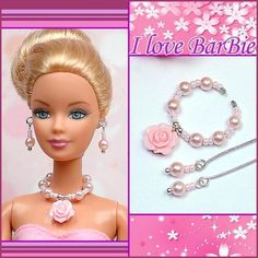 handmade barbie doll jewelry set necklace earrings for barbie dolls